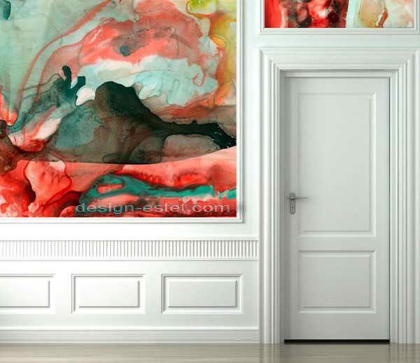 Акварельные обои для стен - фото в интерьере