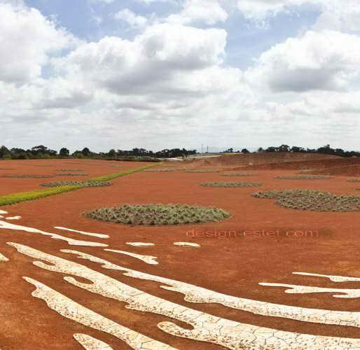 Красные пески Австралии в садово-парковом ландшафте