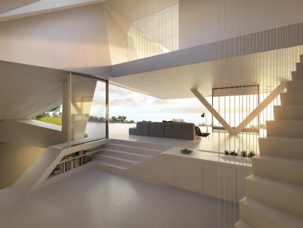 Дизайн белого интерьера частного дома в стиле хай-тек
