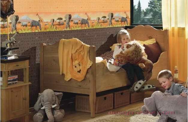 Дизайн оклейки стен детской обоями