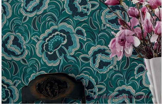 Дизайн оклейки стен обоями в модной сине-зеленой гамме цветов