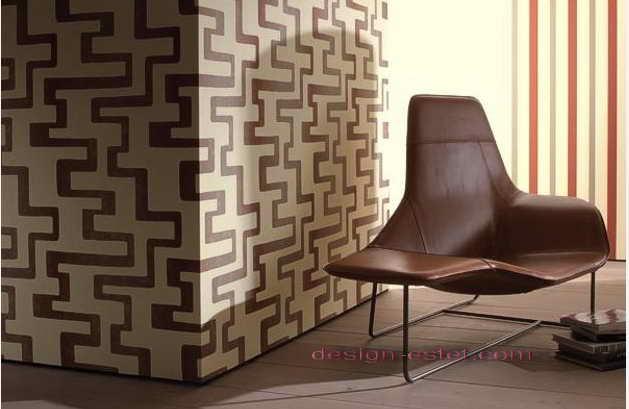 Дизайн оклейки стен обоями в бело-коричневом цвете
