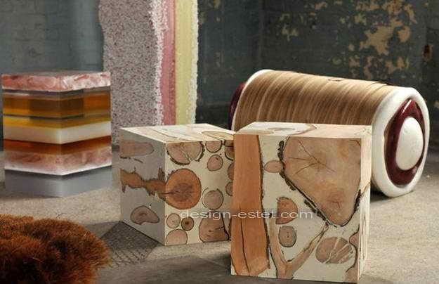 Полиуретановая мягкая мебель - пуфы и скамейки