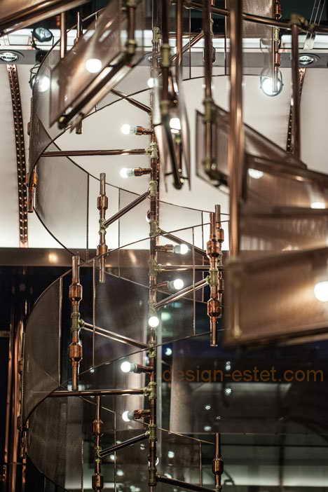 Люстра из меди в дизайне лофт ресторана