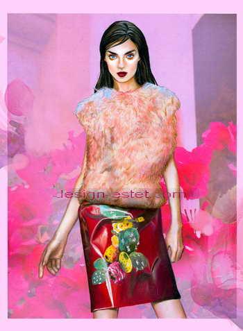 Фэшн-иллюстрации одежды для дома моды Дольче Габбана