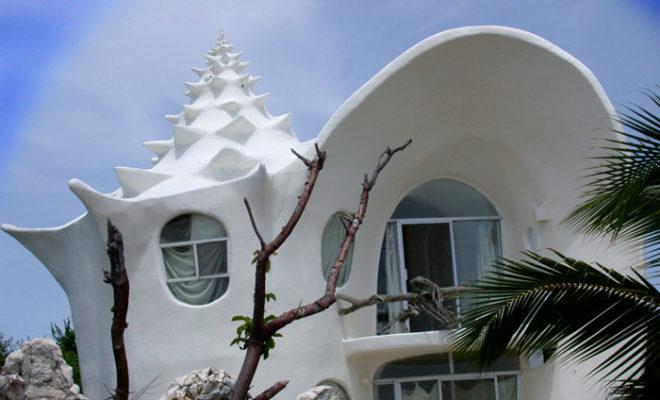 Дом ракушка в Мексике внутри и снаружи