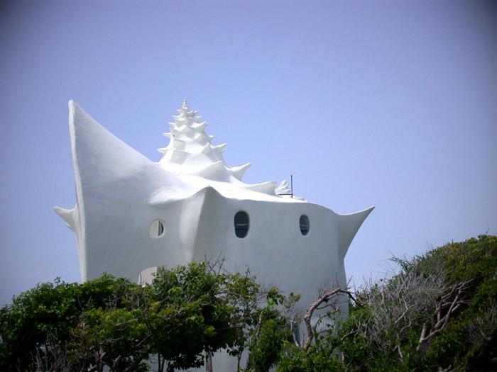 Биоархитектура дома ракушки в Мексике