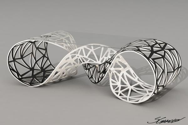 Дизайн футуристической скамейки из пластика