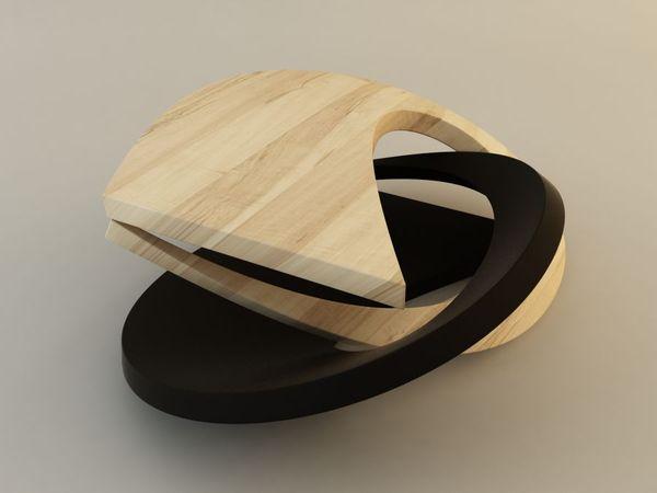 Дизайн футуристического журнального столика из дерева
