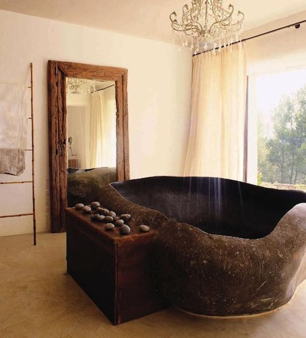Ванна из натурального камня в дизайне интерьера санузла