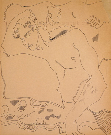 Карандашный рисунок Энди Уорхола - обнаженный натурщик