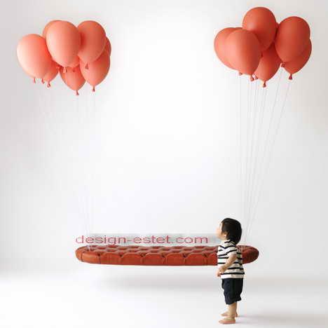 Серия дизайнерской мягкой мебели - летающая скамейка и кресло