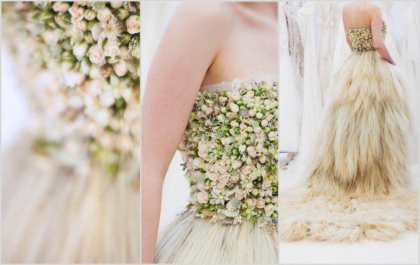 Свадебное платье из живых розовых цветов