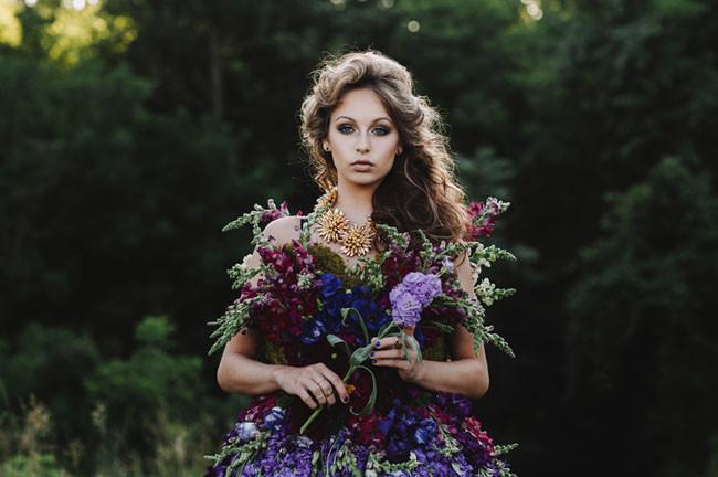 Платье из полевых живых цветов