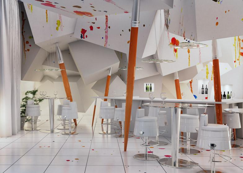 Дизайн белого ресторана в стиле минимализм