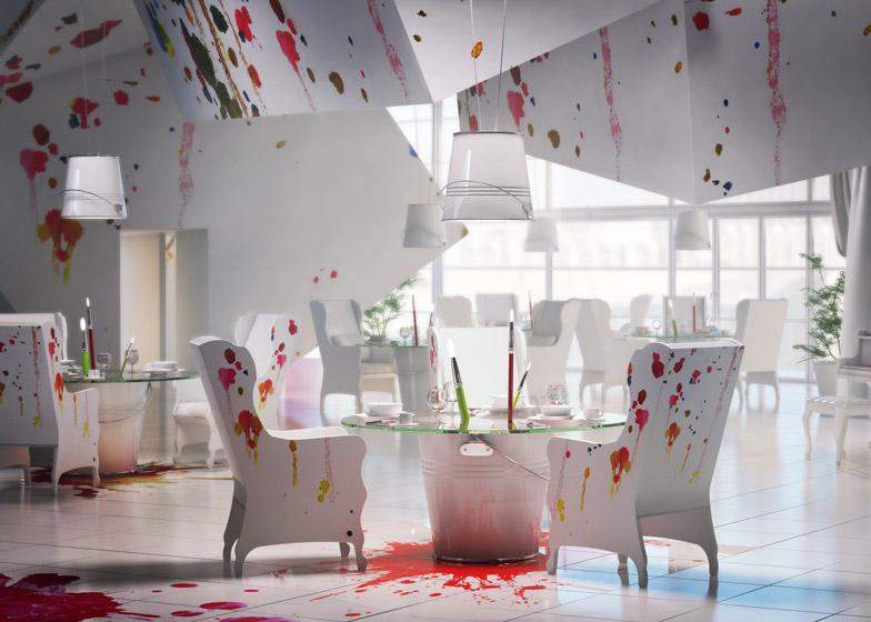 Дизайн интерьера ресторана в белых тонах