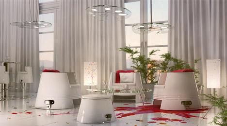 Интерьер ресторана в белом цвете