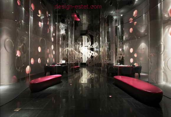 Красные диваны в стиле модерн для ресторана