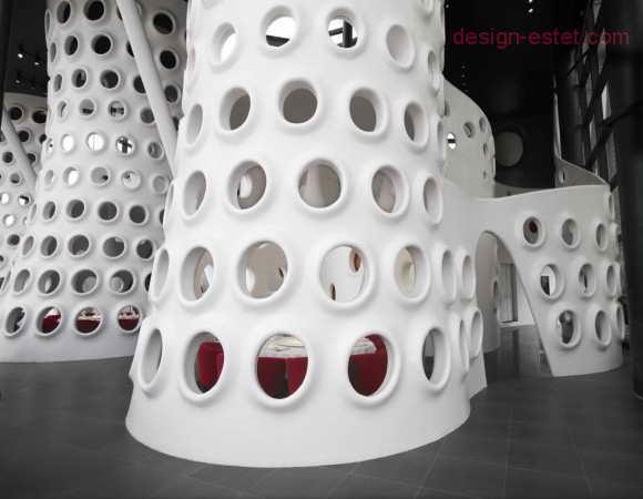 Гнутые перегородки в стиле модерн для ресторана