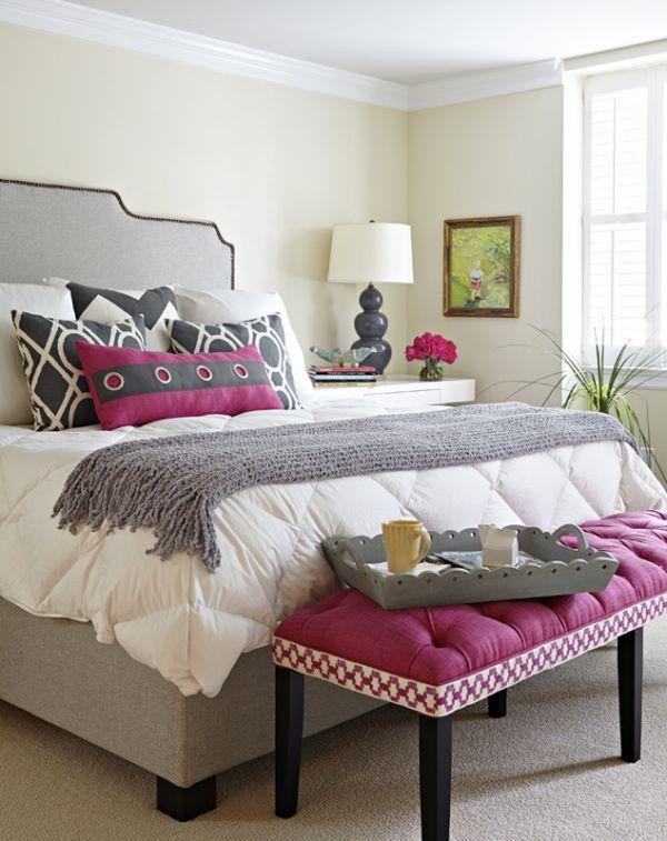 Сочетание серого и черного с розовым цветом в интерьере