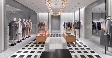 Черный и белый цвет в дизайне интерьера магазина одежды Валентино