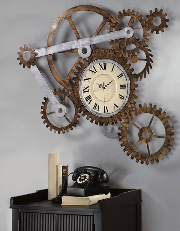 Декор из шестеренок и ретро предметов в дизайне интерьера в стиле стимпанк