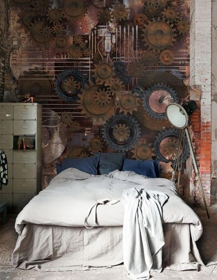 Декор из шестеренок на стене в интерьере спальни в стиле стимпанк