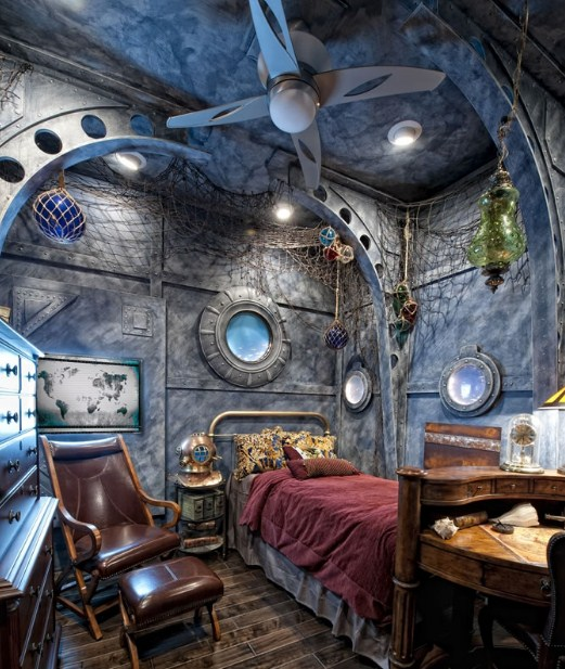 Дизайн интерьера спальни в стиле стимпанк