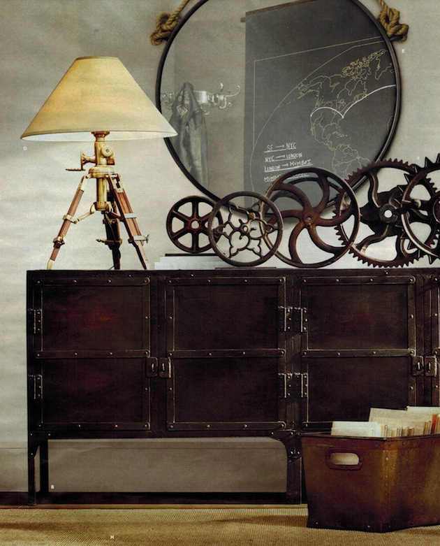 Настольная лампа в дизайне интерьера в стиле стимпанк