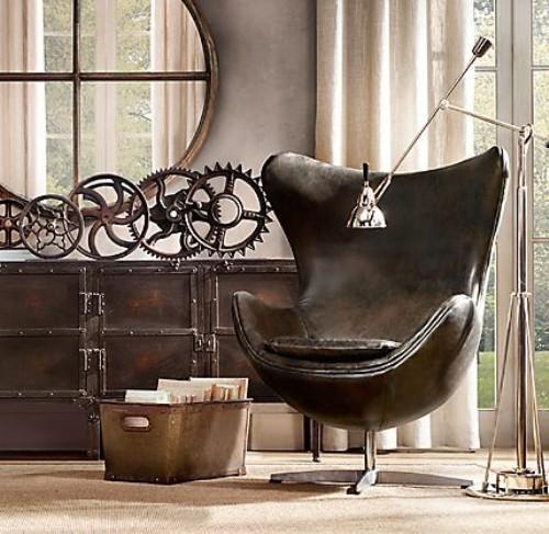 Дизайн комода, зеркала и кресла в интерьере в стиле стимпанк