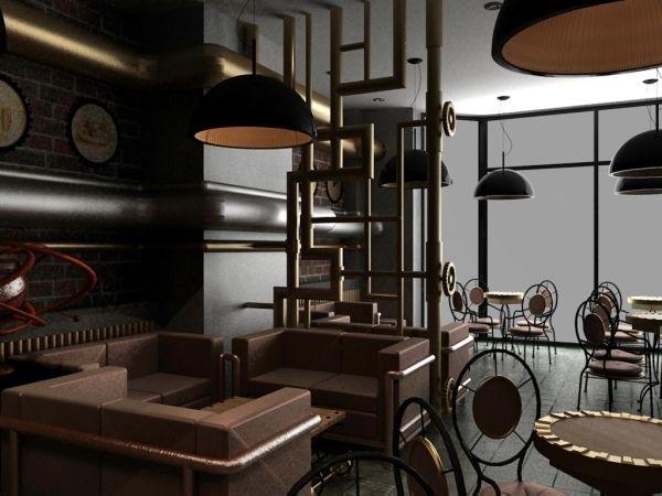 Мягкая мебель и перегородки в дизайне интерьер кафе в стиле стимпанк