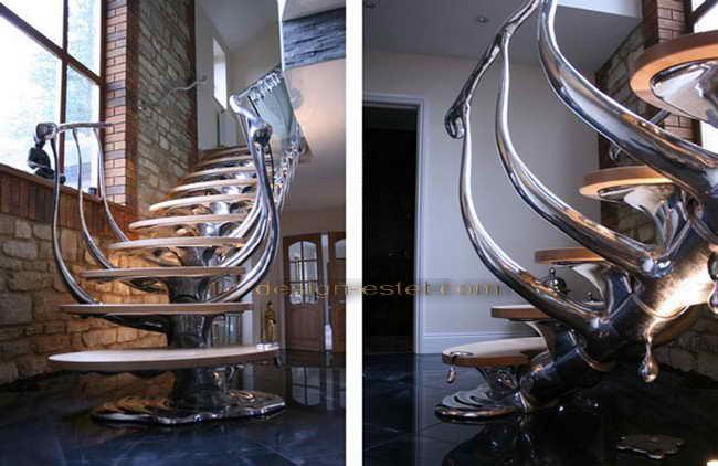 Биодизайн лестницы из металла на второй этаж