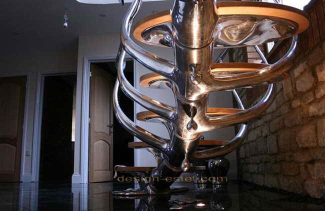 Дизайн металлической лестницы - фото конструкции из полированной стали