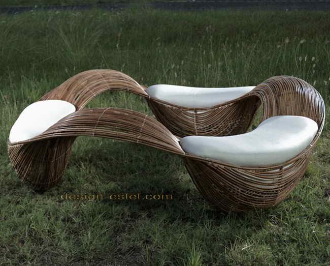 Дизайнерская мебель из массива дерева - садовая скамейка из гнутой древесины