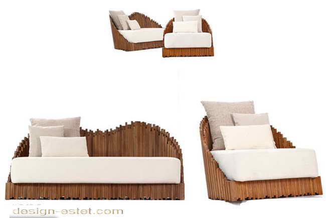 Дизайнерский диван из массива дерева