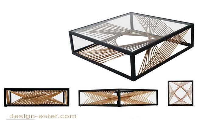 Дизайнерская мебель из массива дерева - кофейный столик из древесины, металла и стекла