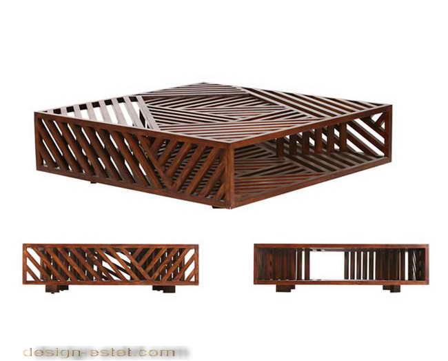 Дизайнерская мебель из массива дерева - кофейный столик из древесины и стекла