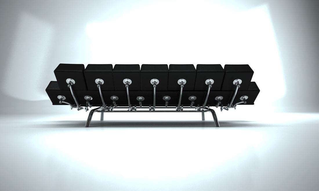 Стальной каркас для черного дивана-кровати в форме клавиатуры