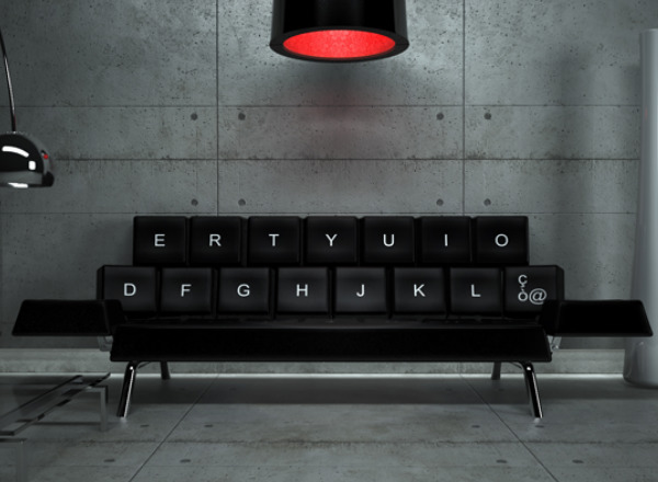 Кожаный черный диван кровать в форме клавиатуры