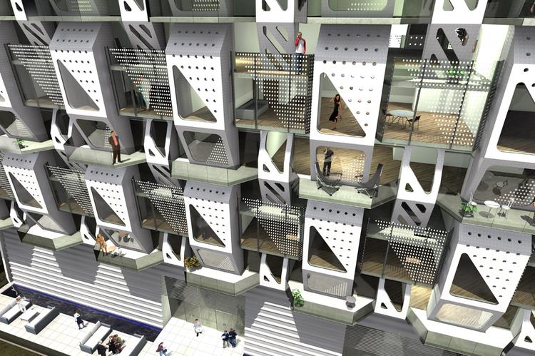 Проект ячеистой архитектуры будущего в стиле футуризм