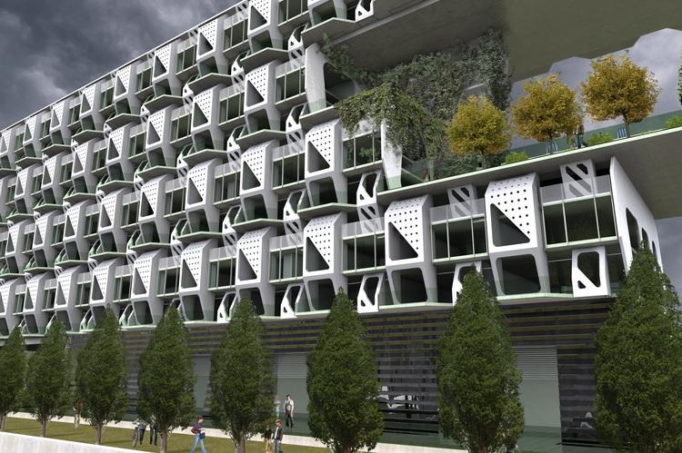 Модульная застройка в проекте дома будущего для городской среды