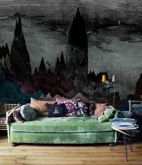 Готический стиль в интерьере гостиной в квартире