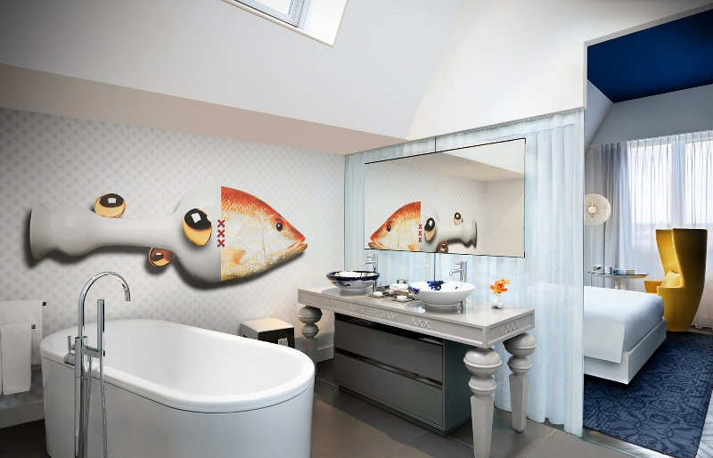 Дизайн интерьера ванной от Марселя Вандерса в номере отеля Andaz