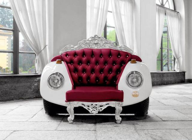 Стиль барокко в дизайне мягкой мебели из деталей автомобиля