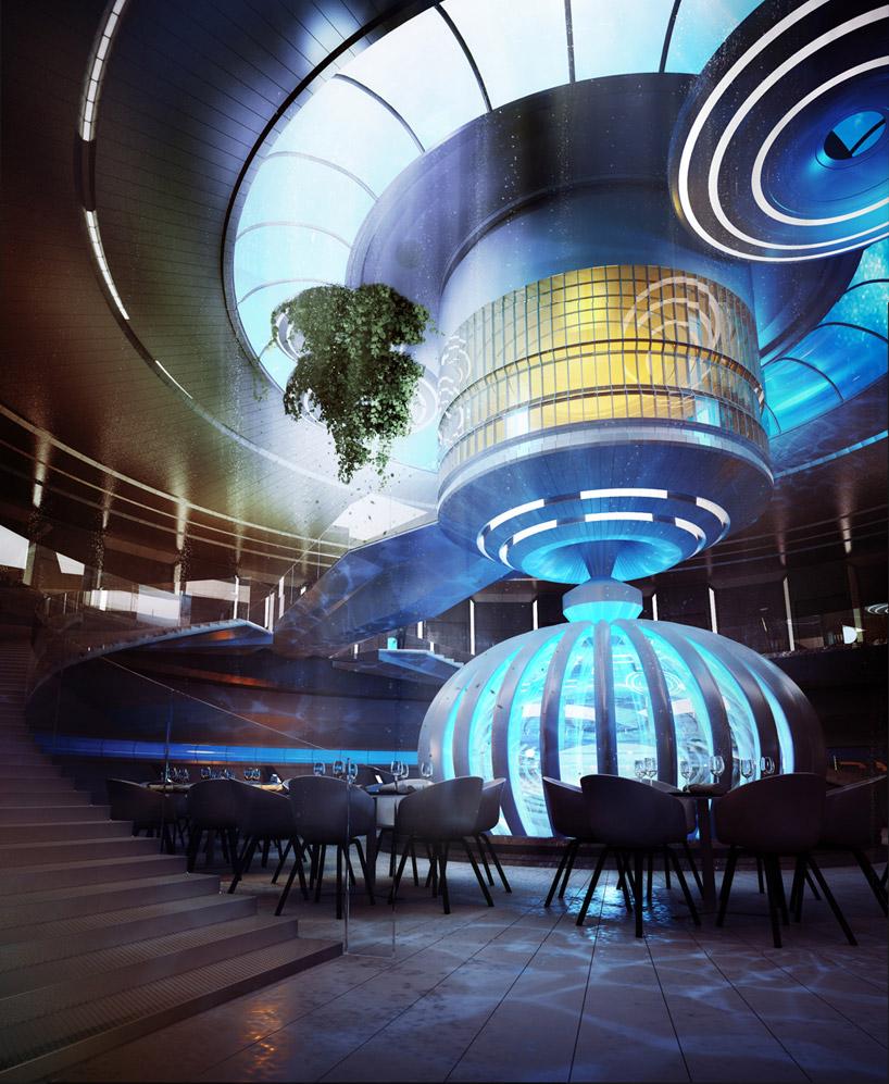 Центральный холл подводного отеля в Дубае