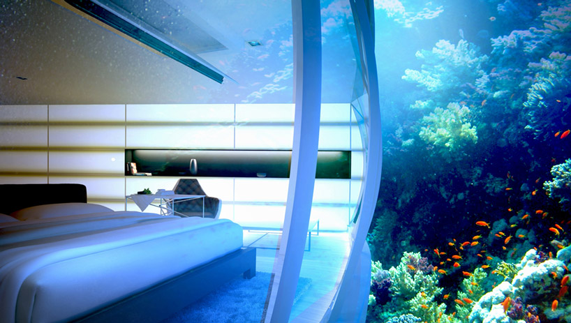 Интерьер гостиничного номера подводного отеля в Дубае, ОАЭ