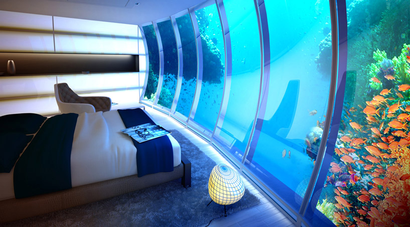 Отделка и меблировка номеров подводного отеля в Дубае, в Персидском заливе в ОАЭ