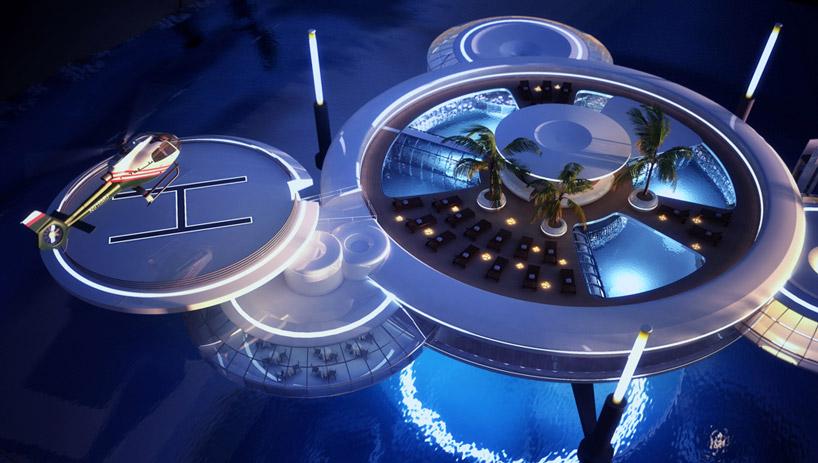 Зоны отдыха подводного отеля в Дубае, ОАЭ