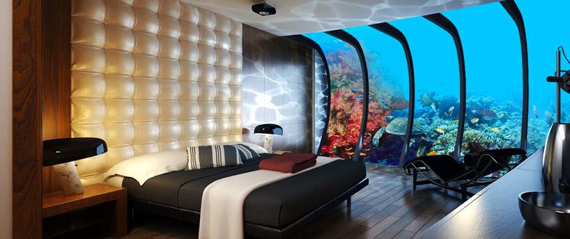 Интерьеры номеров подводного отеля в Дубае, в Персидском заливе в ОАЭ