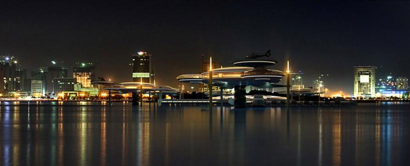 Архитектура подводного отеля в Дубае, в Персидском заливе в ОАЭ